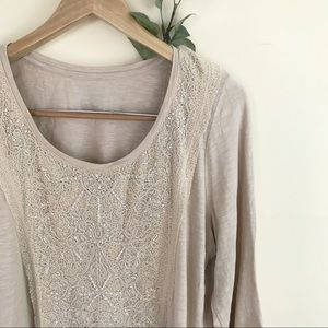 Chico's Embellished Beaded Taupe SZ 3 Blouse